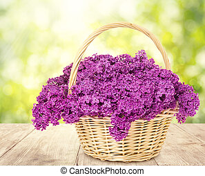 Lilac Flowers Blooming Bouquet Basket Wooden Table