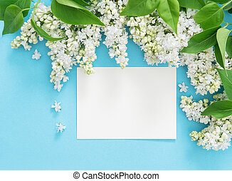 Lilac flowers empty greetings card blue background