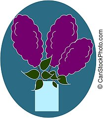 Lilac flowers in vase, illustration, vector on white background.