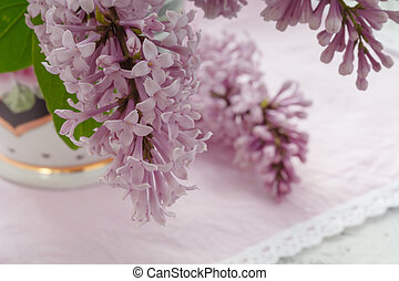 lilac flowers on the window in the sun