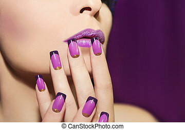 Lilac French manicure.