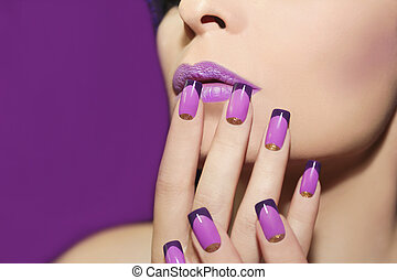 Lilac french manicure. - Mauve lip and French manicure with...