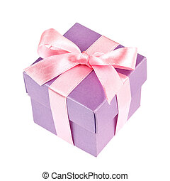 gift box with pink ribbon and bow