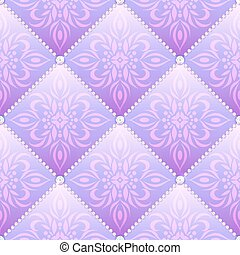 Lilac glamor satin quilted seamless texture of fabric with diamond buttons and classic pattern