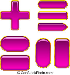 Lilac glass buttons, set