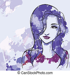 Lilac head of female - Vector image with portrait of...