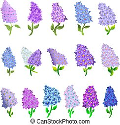 Lilac icons set, cartoon style