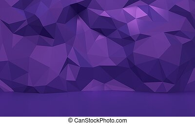 Lilac interior with low poly abstract wall. 3d rendering
