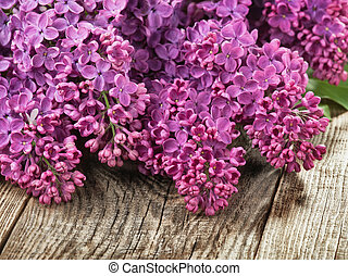 lilac on a wooden background