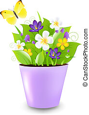 Lilac Pot With Flowers
