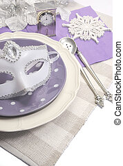 Lilac purple theme elegant Happy New Year dining table place settings with white copy space for your text here.