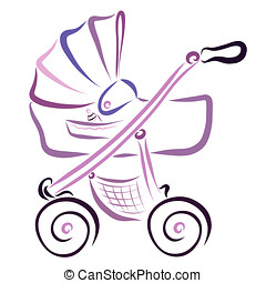 Lilac Stroller with Baby Cradle