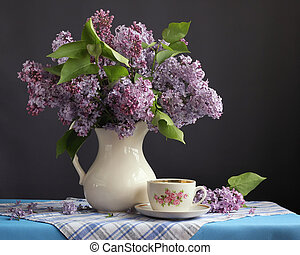 Lilac with white jug and a retro Cup.