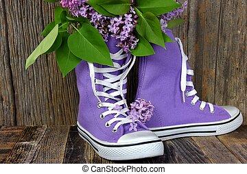 lilacs in purple high top sneakers