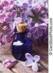lilas, fleurs, haut, parfumé, fin, table, extrait