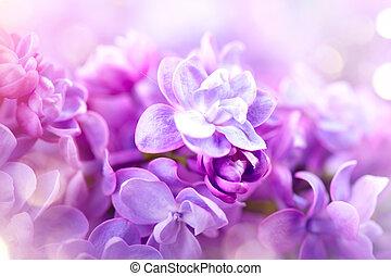 lilas, fleurs, tas, violet, art, conception, fond