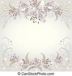 lilia, floral, fond, fleurs blanches