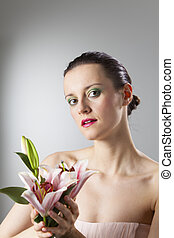 lilia, kobieta, kwiat
