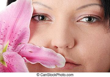 lilia, kobieta, przeważać, kwiat
