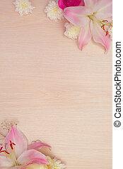 lilie, dále, dřevěný, grafické pozadí
