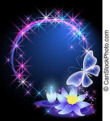 Lilies and butterfly - Magic lilies and butterfly