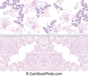Lilies and lavender lace card. Vector
