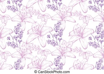 Lilies and lavender pattern background. Vector delicate illustration