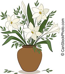 Lilies Flowers in a Vase - Bouquet of Beige Lilies Flower...