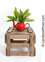 Lilies in a wooden crate
