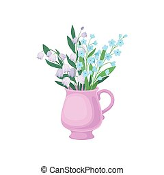 Lilies of the valley and cornflowers in the mug. Vector illustration on white background.