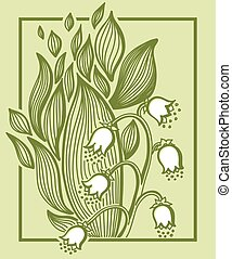 Lilies of the valley flower with simple frame.