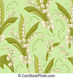 Lilies of the valley. Seamless background. - Vintage...