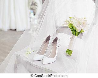 lilies., sapatos, buquet, calla, detalhes, casório, branca, nupcial, ceremony.