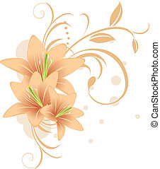 Lilies with decorative ornament. Vector illustration