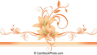 Lilies with floral ornament on the decorative border. Vector illustration