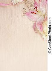 liliom, képben látható, fából való, háttér