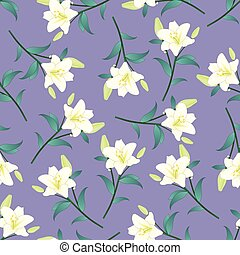 White Lily on Purple Background