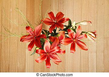 Lilium Flower - A Bouquet of blooming Lilium Flowers.