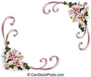lilja, inbjudan, bröllop, blommig