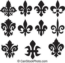 lilje, blomst, -, heraldiske, symboler