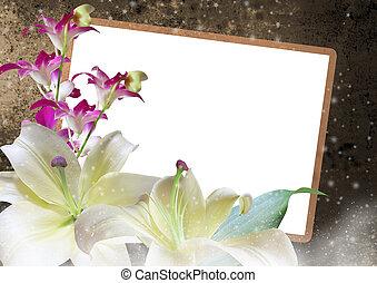 liljor, och, orkidéer, blommig, ram