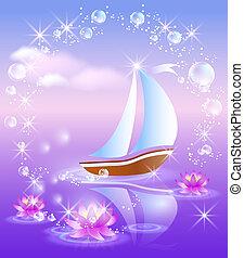 liljor, segelbåt, violett