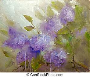 lilla, fiori, fondo., fiori primaverili