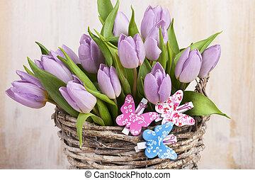 lilla, mazzo, tulips