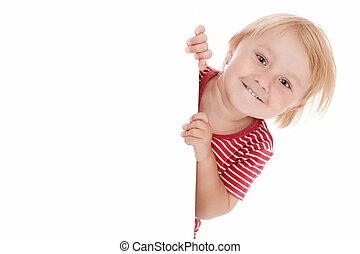 lille barn, bag efter, hvid planke