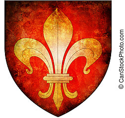 lille coat of arms - old isolated over white coat of arms of...