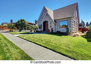 lille, craftsman, one-story, exterior, hos, træ, siding.
