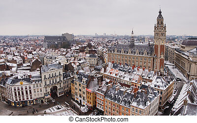 Lille downtown panoramic view in winter, France
