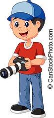 lille dreng, cartoon, holde kamera