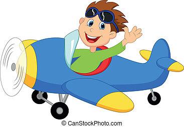 lille dreng, fungerer, en, flyvemaskine